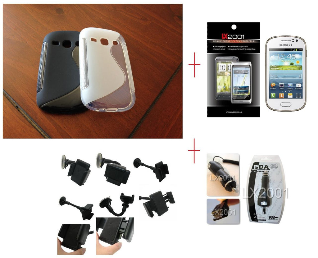 Samsung Galaxy Fame S6810 Gel Case + Screen Protector + Car Charger + Car Kit Holder