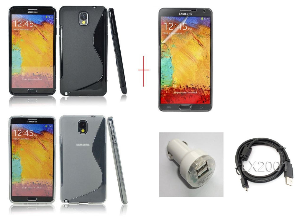 Samsung Galaxy Note 3 Gel Case Black + CLEAR + Dual USB Car Charger + USB PC Cable