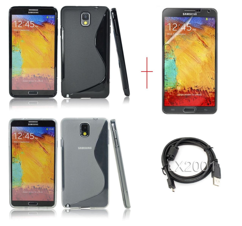 Samsung Galaxy Note 3 Gel Case Black + CLEAR + USB PC Cable