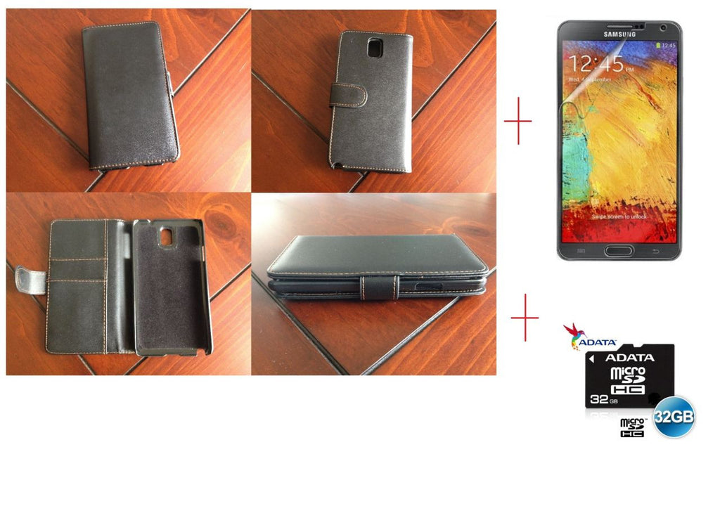 Samsung Galaxy Note 3 Samsung Wallet Leather Case + Screen Protector + 32GB MicroSD Card