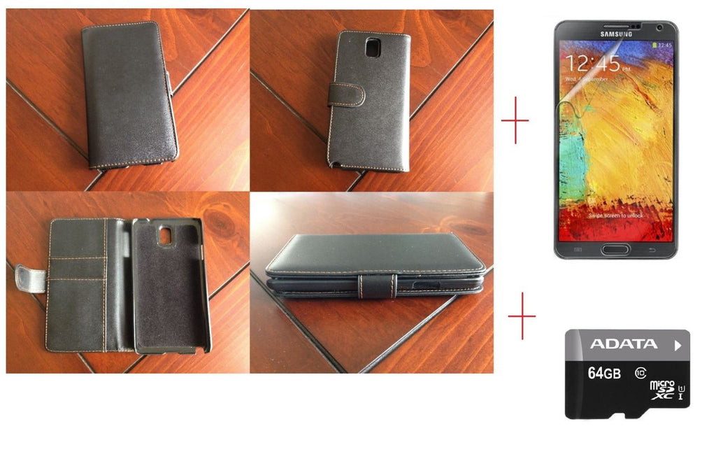 Samsung Galaxy Note 3 Samsung Wallet Leather Case + Screen Protector + 64GB MicroSD Card Class 10