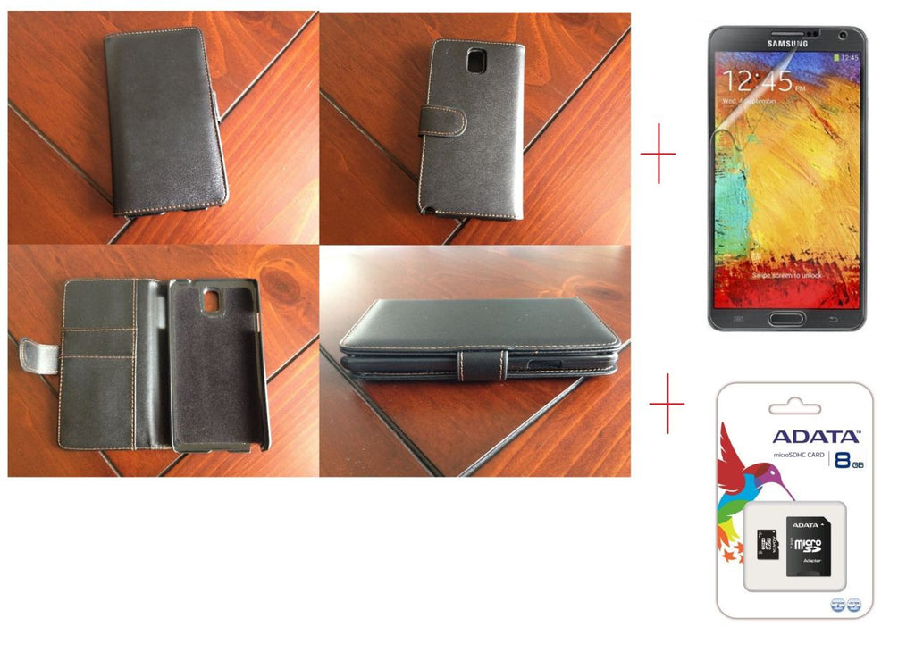 Samsung Galaxy Note 3 Samsung Wallet Leather Case + Screen Protector + 8GB MicroSD Card