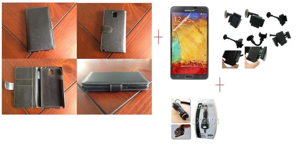 Samsung Galaxy Note 3 Samsung Wallet Leather Case + Screen Protector + Car Charger + Car Kit Holder
