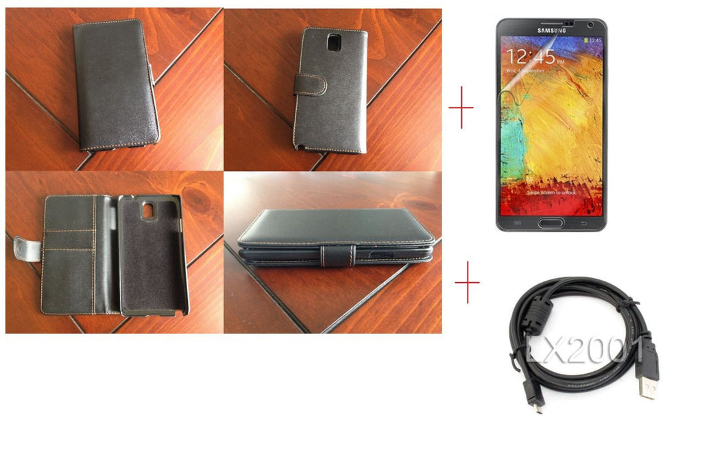 Samsung Galaxy Note 3 Samsung Wallet Leather Case + Screen Protector + USB PC Cable