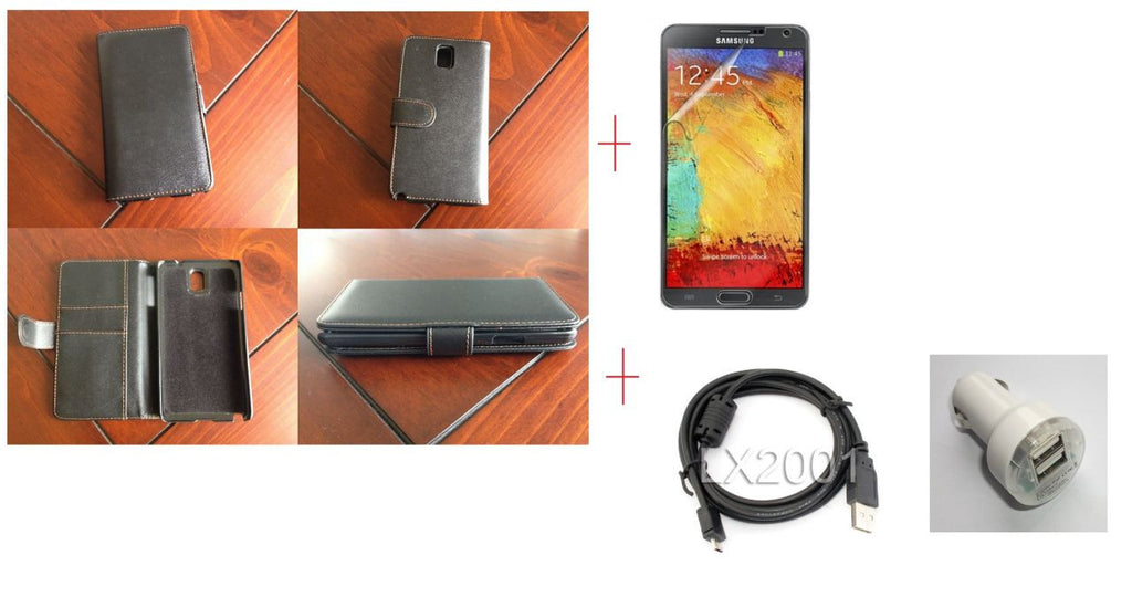 Samsung Galaxy Note 3 Samsung Wallet Leather Case + Screen Protector + USB PC Cable + Dual USB Car Charger