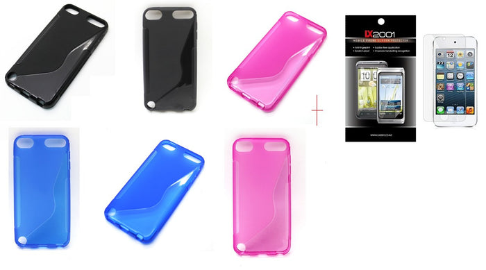 TPU Skin Case for Apple iPod Touch 5 Touch5 5th gen (S Shape)  +SP