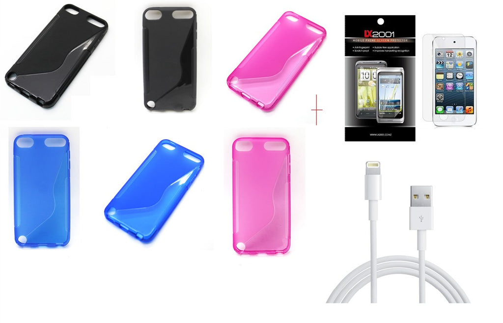 TPU Skin Case for Apple iPod Touch 5 Touch5 5th gen (S Shape)  +SP + Lightning USB PC Cable