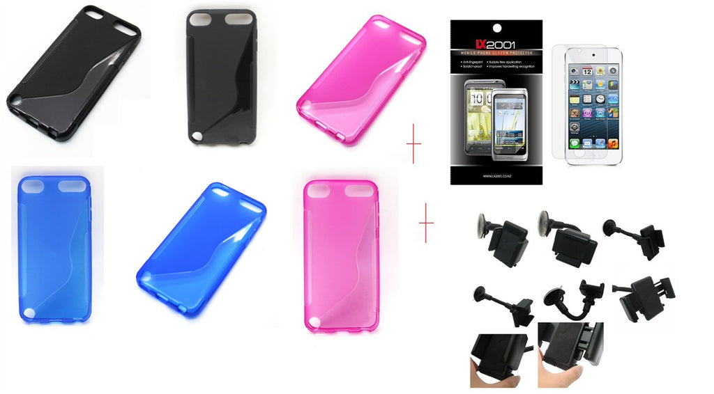 TPU Skin Case for Apple iPod Touch 5 Touch5 5th gen (S Shape)  +SP + car kit holder