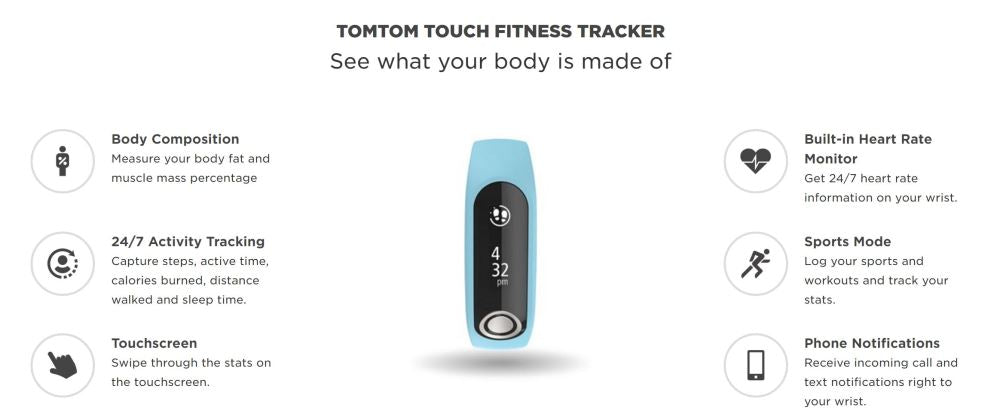 TomTom Touch Fitness Tracker LARGE BLACK 1AT0 001 01