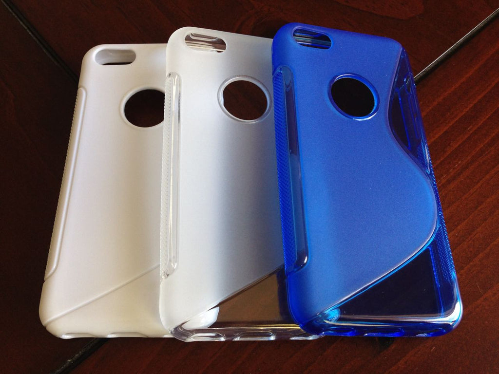 iPhone 5C S Shape Gel White Clear Blue