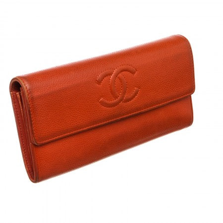 Pre Owned - Chanel Red Caviar Leather CC Long Flap Wallet