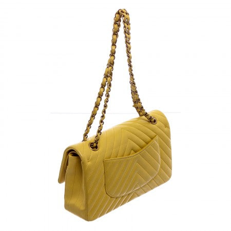 Pre Owned - Chanel Yellow Chevron Quilted Leather Medium Double Flap Bag