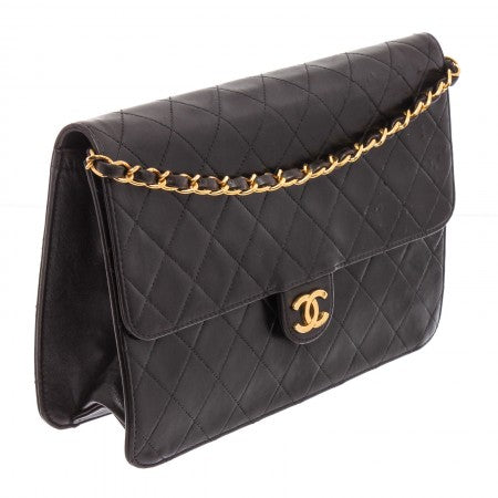 Pre Owned - Chanel Vintage Black Quilted Lambskin Leather CC Flap Bag