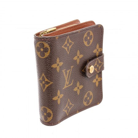 Pre Owned - Louis Vuitton Brown Monogram Canvas Leather Compact Zippe Wallet