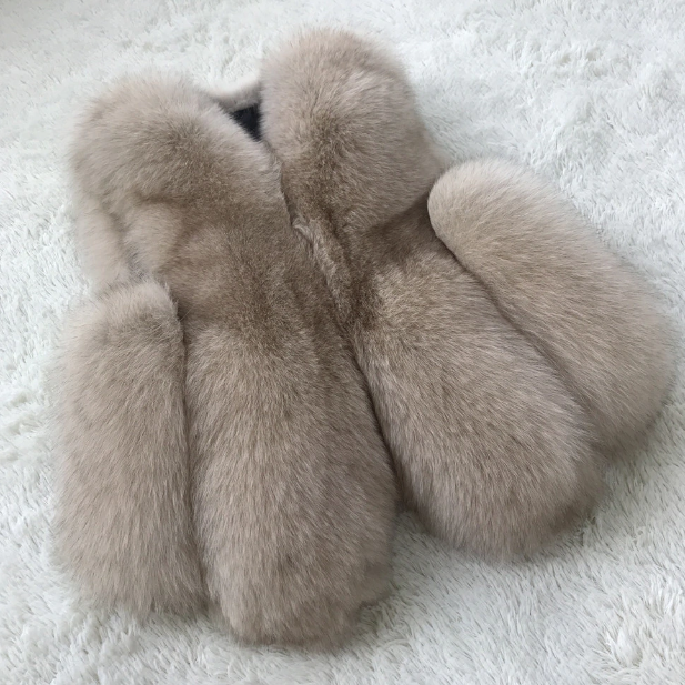 Camel fox fur gillet