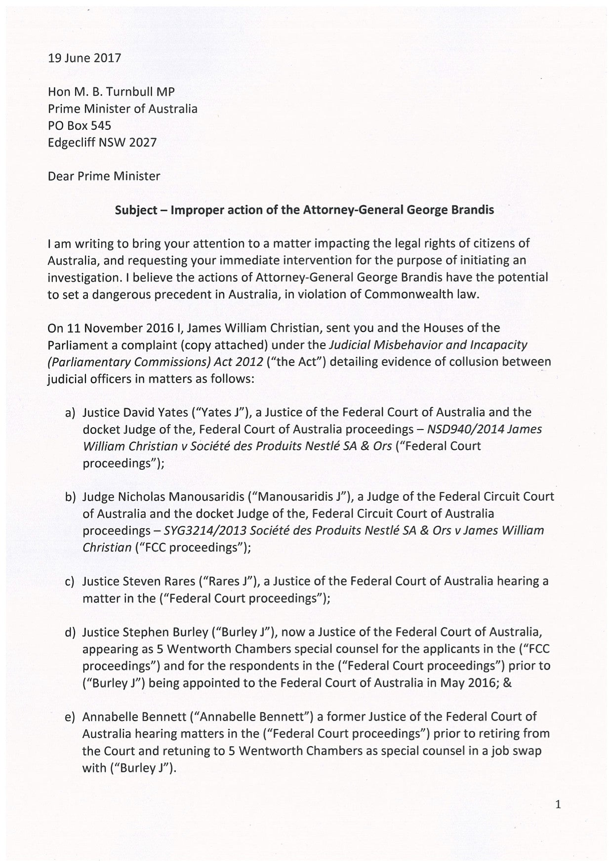 Letter to Prime Minister Malcolm Turnbull