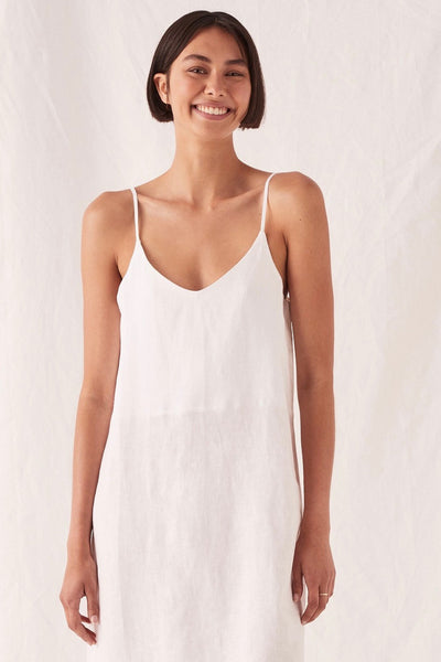 Assembly Label Linen Slip Dress is an easy everyday style made from a lightweight linen that is just right for summer. This dress has a flattering v-neckline, adjustable straps and is calf length, making it so versatile for day to evening.  100% Linen Cool gentle hand or machine wash with like colours