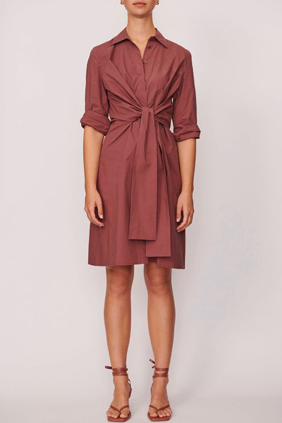 POL Hue Tie Shirt dress is a classic shirt dress with a front tie at the waist, button through front with shirt collar and 3/4 length sleeves. Perfect for work or weekend wear. 100% Cotton Warm hand wash