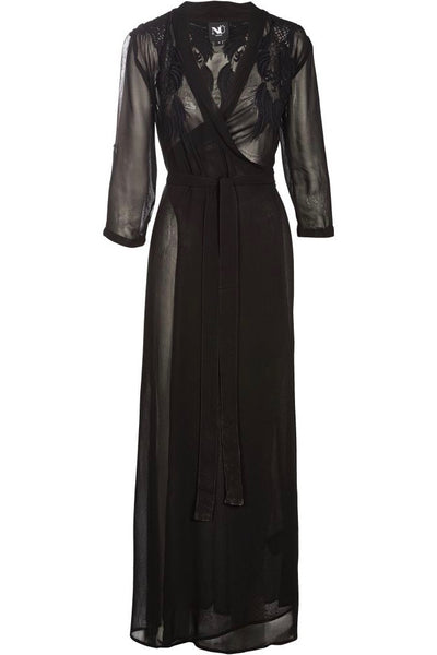 NU DENMARK Sheer Wrap Dress, Black