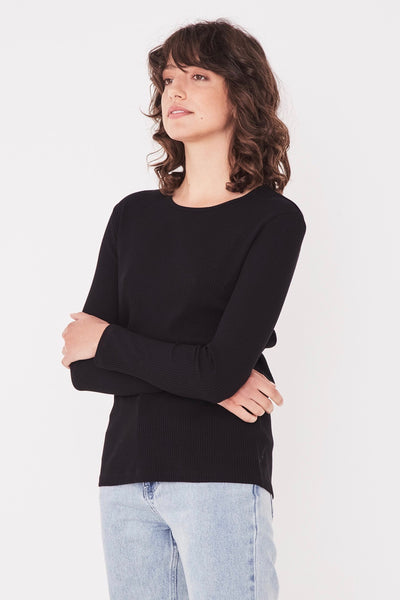 ASSEMBLY LABEL Ida Rib Long Sleeve Tee, Black