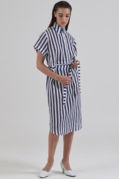 GARTH COOK Submerge Shirt Dress, Navy Stripe Organza