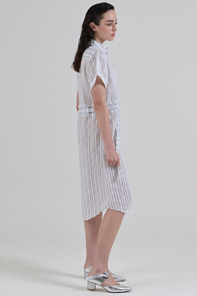 GARTH COOK Submerge Shirt Dress, White Stripe Organza