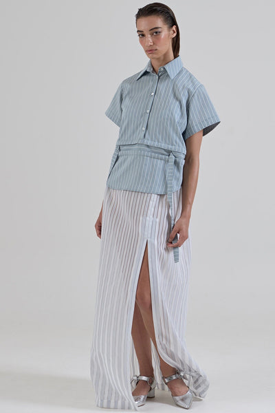 GARTH COOK Submerge Waist Shirt, Grey Stripe