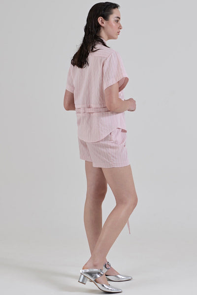 GARTH COOK Submerge Waist Shirt, Pink Stripe