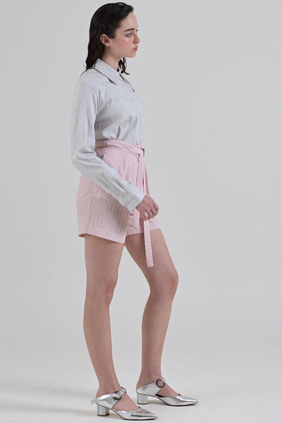 GARTH COOK Double Pleat Shorts, Pink Stripe