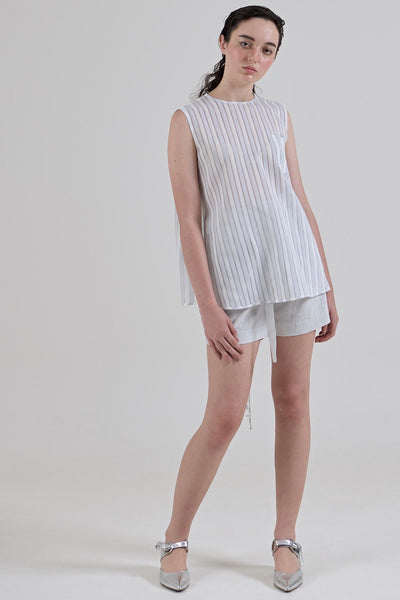 GARTH COOK Water Cooler Top, White Stripe Organza