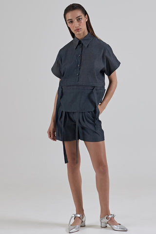 GARTH COOK Double Pleat Shorts, Blue Chambray