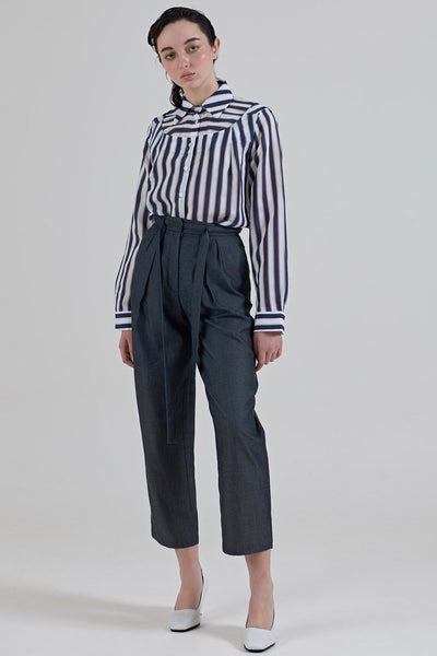 GARTH COOK Submerge Yoke Shirt, Navy Stripe Organza