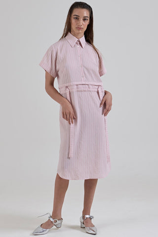 GARTH COOK Submerge Shirt Dress, Pink Stripe