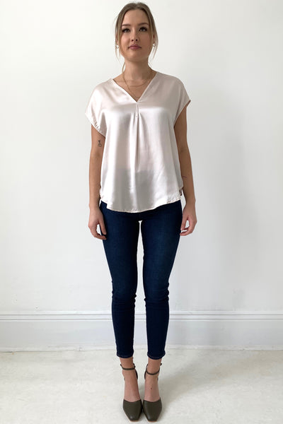 Majestic Silk and Linen Tee, Rose