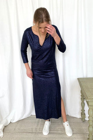 MAJESTIC Maxi Dress, Navy Metallic