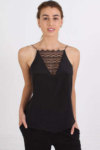 CUSTOMMADE Elvira Silk Top, Anthracite Black