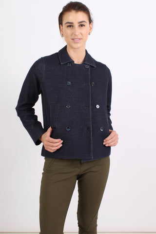 MAJESTIC Double Breasted Jacket, Washed Navy