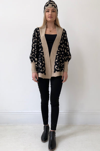 PURLE Brooklyn Cardigan, Black/Camel