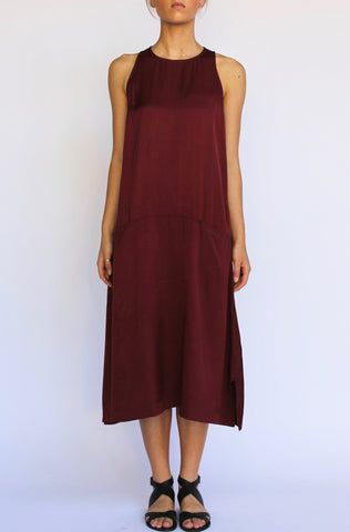 PERISCOPE Drop Waist Dress, Pomegranate