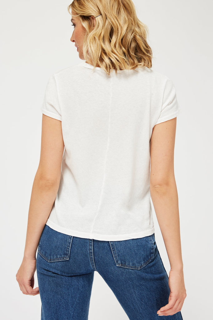 Lacausa Luxe Frank Tee is the classic shape you will love wearing non stop. In a super soft pure cotton, this is great on the skin, and also not sheer as so many white tees are. A great length to tuck into high waisted pants or wear loose.  100% Cotton Cold gentle machine or hand wash Made in Los Angeles