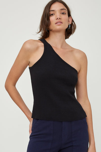 Lia Tank is a fitted asymmetric tank top in a rib knit. A popular style you can wear with jeans or dress up with black pants or skirt. This rib knit is soft and stretchy to wear for a perfect fit.  95% Cotton 5% Spandex Warm gentle hand or machine wash