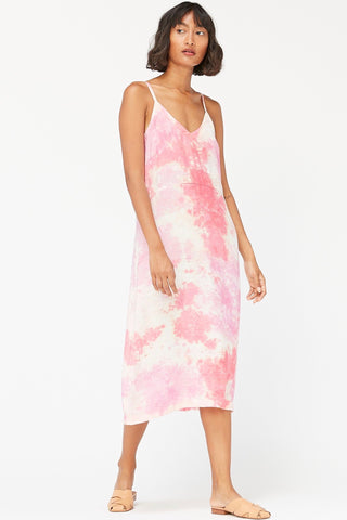 LACAUSA Alma Slip Dress, Rasberry