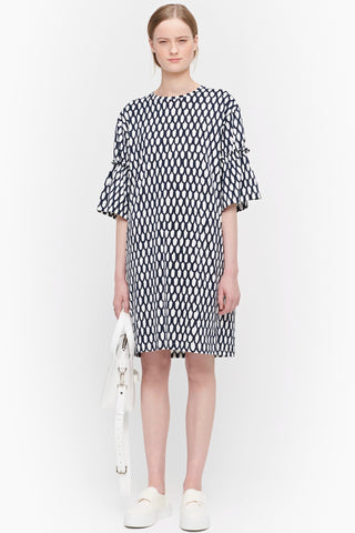 MARIMEKKO Geodesia Dress, Blue and White