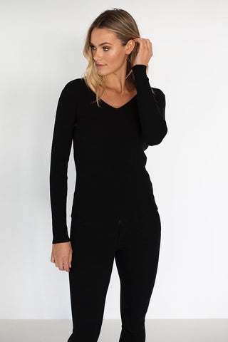 HUMIDITY Merino V-Neck, Black