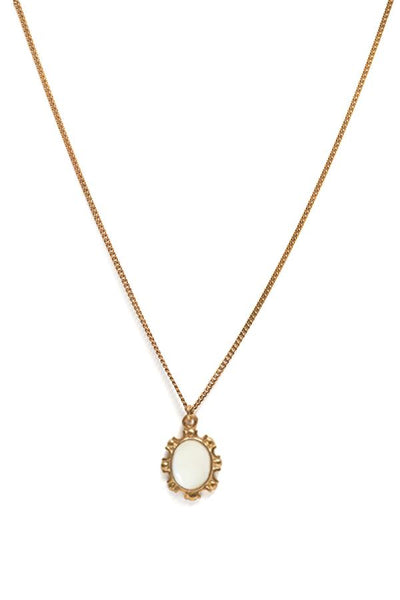 RBCCA KSTR Priya necklace is crafted in 18K yellow gold plated recycled sterling silver with a pendant in mother of pearl cabochon (convex/polished) and length of 45cm.  18K yellow gold plated sterling silver  Store in a cool, dry place.   Avoid contact with perfume and lotions.