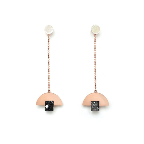 Particle Earrings - Rose Gold