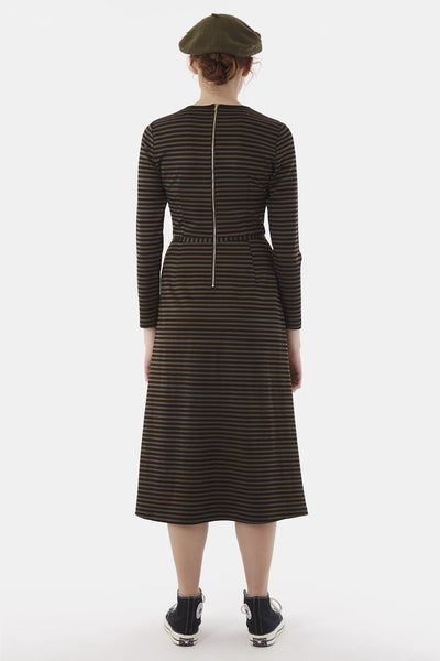 SYLVESTER Stripey Dress, Oliveblack