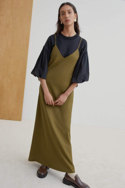 KOWTOW Ada Long Slip Dress, Khaki