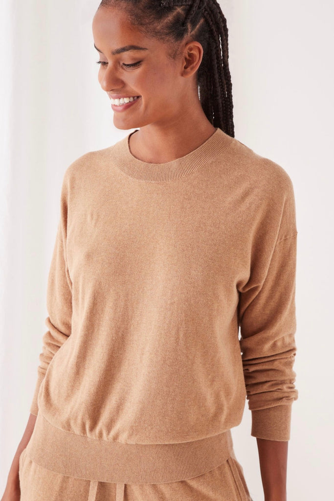 Assembly Label Lounge Sweater is made from a blend of natural fibres and has a super soft feel. Relaxed fit with ribbed neckline, waistband and cuffs gives the jumper comfort but with shape. 95% Cotton 5% Cashmere Hand wash in cold water