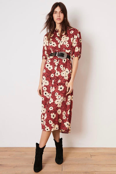 Ba&Sh Babeth dress features a beautiful, bold feminine floral print in a shirt-dress style with buttons through front, elbow length sleeves with elasticated cuff and is mid-calf in length. Perfect for all year round with layering. Pictured with belt and great also unbelt.  100% Viscose Hand wash in cold water